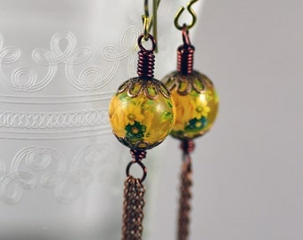 Tassel Earrings Featuring Vintage Japanese Tensha Flower Beads with Yellow Roses and Delicate Antiqued Copper Chain and Niobium Hooks
