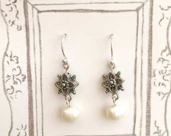 Fresh Water Pearl Dangling Earrings, Bridesmaid Earrings, Wedding Earrings, Pearl Earrings, Wedding Gift, Elegant Earrings, Christmas Gift