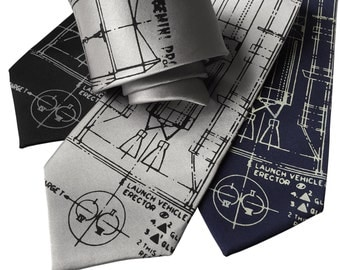 Project Gemini Necktie. Titan Launch Vehicle & Erector diagram. NASA rocket spacecraft men's tie. Silkscreen print. Space gift.