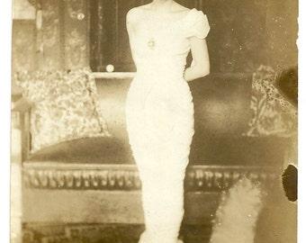 Miss Wasp waist Mucha dress art nouveau formal vintage photo woman