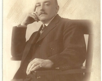 Handsome dandy with ring sepia photo gentleman mustache Edwardian vintage