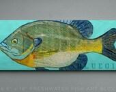 Bluegill Art Block Sign- Lake House Art- Fish Print Gift for Son- Bluegill Print- Bluegill Fishing Gifts for Men- Dad Gifts