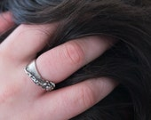 Breaking wave ring - dramatic surf crashing on a shore, captured in sterling silver