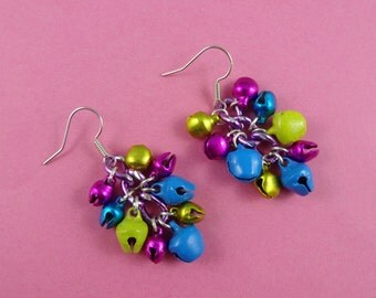 Colourful Christmas Jingle Bells Earrings - tiny bells in bright colours - holiday jewelry, stocking stuffer, pink yellow turquoise purple
