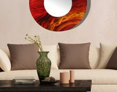 Red, Orange & Yellow Modern Metal Wall Art Mirror, Large Abstract Wall Accent Decor, Round Contemporary Mirror Art - Mirror 116 by Jon Allen