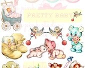 Pretty Baby DIGITAL collage sheet, instant download, printable collage sheet