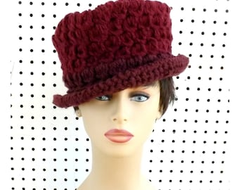 Aubergine Crochet Womens Fedora Hat, Crochet Hat Womens Hat, Womens Crochet Hat, Aubergine Hat, ANDY Crochet Fedora Hat