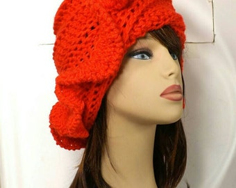 Crochet Cloche Hat 1920s, Womens Crochet Hat, Crochet Womens Hat 1920, Orange Hat, Steampunk Hat, Cynthia 1920s Cloche Hat with Ruffle