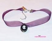 Lady Cameo Pendant Locket Purple Choker Necklace