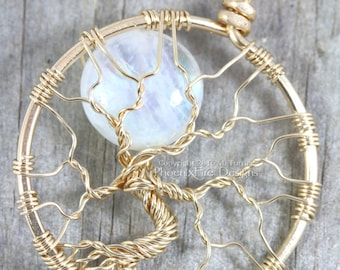 14k gf Rainbow Moonstone Tree of Life Pendant Luxury Gold Filled Necklace Celestial Full Moon Wire Wrapped Jewelry Gold Moonstone Necklace