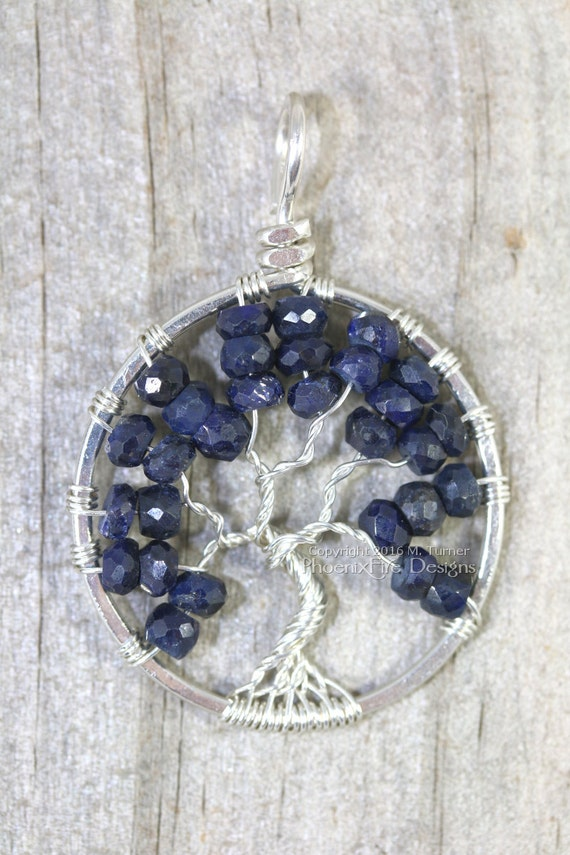 Blue Sapphire Necklace Tree of Life Pendant September Birthstone Jewelry Navy Blue Sterling Silver Wire Wrapped Jewelry Birthday Gift RTS