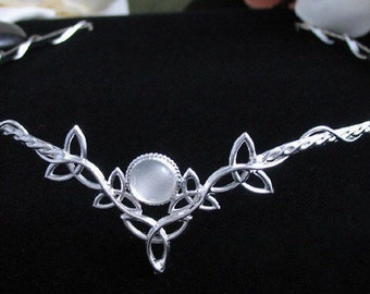 Wedding Bridal Circlet, Celtic Headpiece Circlet, Trinity Knot Design, 8mm Cabochon, Sterling Silver Handmade, Celtic Wedding, Celtic Tiara