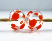 Orange Spots on Clear Hollow Lampwork Glass Bead Pairs