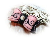 French Pink Felt Dog Bow - Embroidery Scroll Design - Felt Pet Hair Accessory, Pet Bow