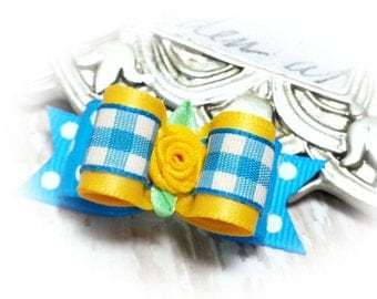 Plaid Gingham Dog Bows for Spring, Dog Hair Bow for Yorkies