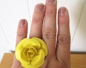vintage yellow rose flower ring