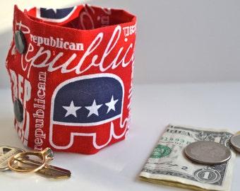 "Money Wrist  Cuff - ""Secret Stash""-  The ""Republican ""  hide your cash, key, jewels,  in a hidden inside zipper"