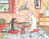 Original Art - Tea with Skunk - Watercolor Rabbit Painting