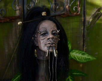 New Deluxe Shrunken Head Clay Sculpture with Wood Stand and Skull