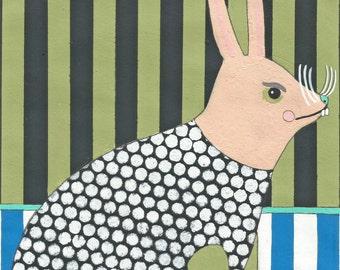 Rabbit - Original Acrylic Art Painting on Paper