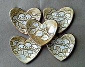 FIVE Heart Ring Bowls Bridal Shower favors wedding favors ceramic itty bitty Mustard yellow edged in gold