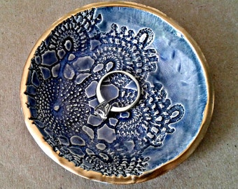 Ceramic Ring Bowl jewelry dish Denim Blue Gold edged