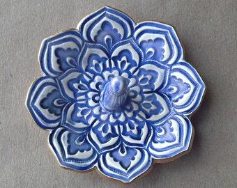 Denim Blue Ceramic Lotus Ring Holder Bowl with gold edging