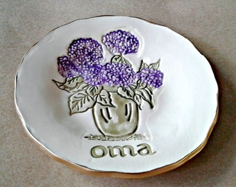 Personalized Ceramic Trinket Bowl OFF WHITE hydrangea edged in gold OMA