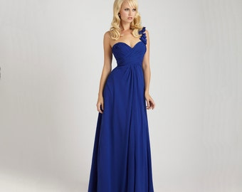 Made to Measure Blue Bridesmaid Dress/ Plus-Sizes/ One Shoulder/ Sweetheart Neckline/ Floor Length Chiffon - AM008