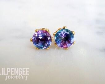 flirt - magenta and teal quartz doublet 6mm GOLD studs. multicolor gemstone studs. purple teal quartz