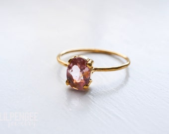 6mm pink tourmaline oval cut 14K gold-fill ring. stackable rings. dainty gold gemstone ring light pink oval gem. dusty rose
