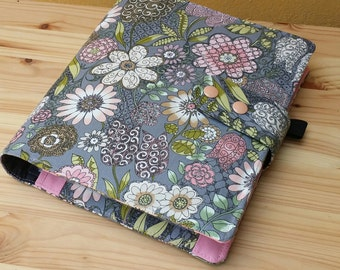 Planner cover grey floral rose 17 pocket  ECLP cover Fabric  Planner accessory Adjustable snap closer