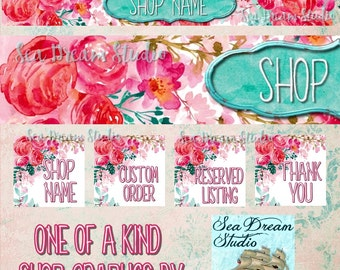 peopny spring watercolor flowers Etsy shop Banner and Avatar by Sea Dream Studio  OOAK