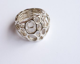 Silver 2-Layer Center Ring - organic cellular jewelry in sterling silver