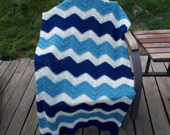 Crochet Ripple Afghan, Crochet Blanket, Chevron, Large Size, Blanket, Throw, Modern style, Shades of Blue, READY To SHIP, Mothers Day