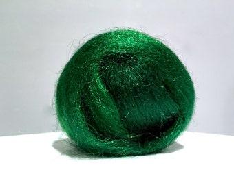 Emerald Green Firestar, Needle Wet Nuno Felting, Blending Spinning Fiber, roving, .5 oz, bright green, similar to Icicle Top, Saori weaving