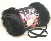 Black and pink butterfly reversible hand muff/warmer with pocket ... Black faux fur/suede and butteflies