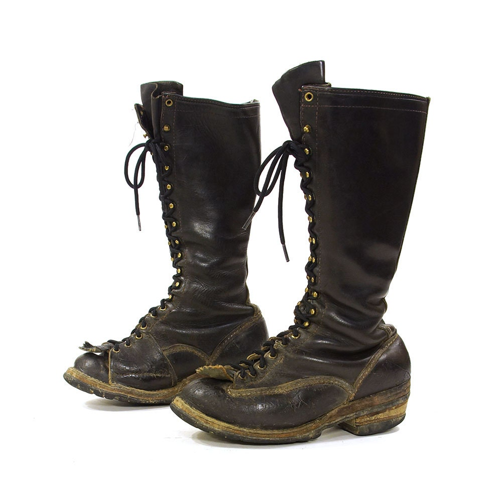 wesco lace up knee high lineman boots vintage 1970s
