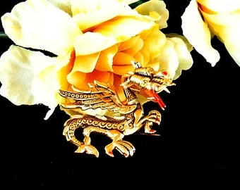 Dragon Brooch Pin, Vintage Damascene Fire Breathing Dragon Brooch Pin Signed SPAIN, Christmas Gift, Gift For Her