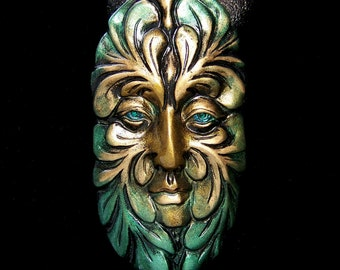 Large Greenman Spirit Face Cab Metallic Gold, Green, and Turquoise Polymer Clay
