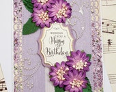 Birthday Card, Handmade Birthday Card, 3D Birthday Greeting Card, Blank Card, Floral Card, Purple Birthday Card, Paper Flowers, Gift for Her