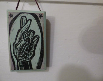 Fingers Crossed original block print on wood hanging wall art for hopeful people