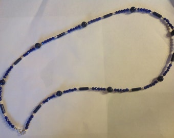 Blue Sapphire and Lapis Sterling Silver Necklace