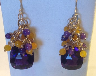 14K Rolled Gold Amethyst Cluster Earrings
