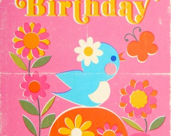 Happy Birthday A6 Greeting Card - Little Blue Bird