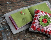 Gift set -- linen pincushion and needle book -- crocheted detail
