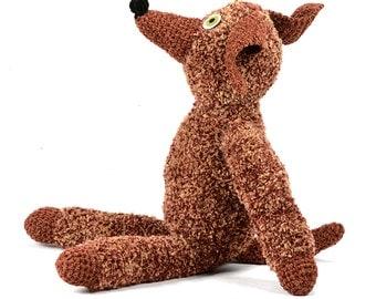 charles - brown fuzzy chenille crocheted plush dog softie