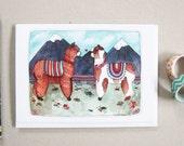 Llama Card - Greeting Card - Blank Greeting Card - Every Day Card - Llama Illustration - Llama Stationery - Animal Card - Two Llamas