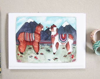 Llama Card - Greeting Card - Blank Greeting Card - Every Day Card - Llama Illustration - Llama Stationery - Animal Card - Two Llamas