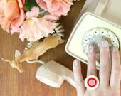 Vintage Button Ring - red + white bullseye